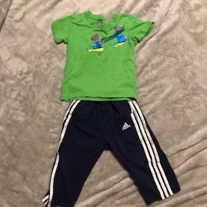 24 mo. Adidas pants and Under Armour shirt